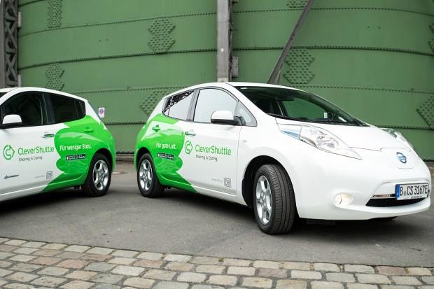 In Berlin und Leipzig kommt das Elektroauto Leaf von Nissan zum Einsatz. (Bild: Clevershuttle)