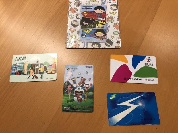 Eine Auswahl unserer E-Tickets aus Hongkong (Octopus), Taiwan (iPASS und EasyCard), Shenzen (Shenzen Tong) und Shanghai (Foto: Andreas Sebayang/Golem.de)