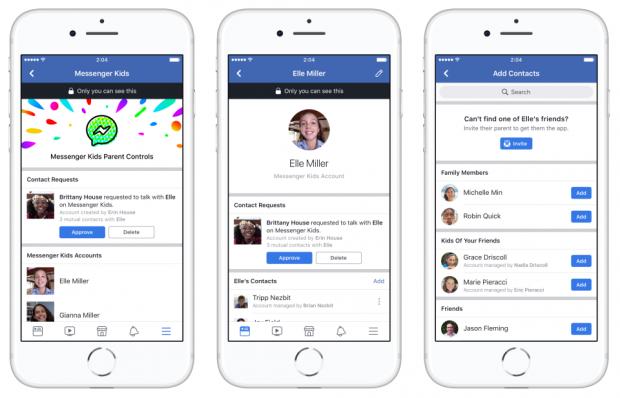 Die Benutzeroberfläche des Messenger Kids von Facebook (Bild: Facebook)