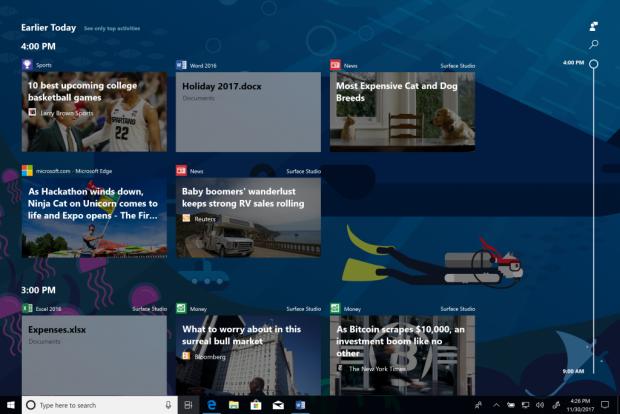 Timeline speichert vergangene Sitzungen ab.(Bild: Microsoft)