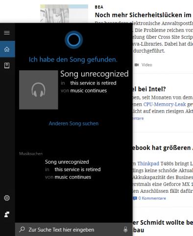 Cortana erkennt keine Musikstücke mehr, da dem Assistenten eine passende Datenbank fehlt. (Screenshot: Golem.de)