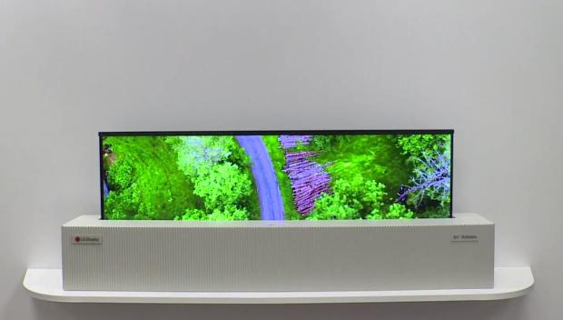 65-Zoll-Fernseher mit aufrollbarem OLED-Display mit 4K-Auflösung (Bild: LG)