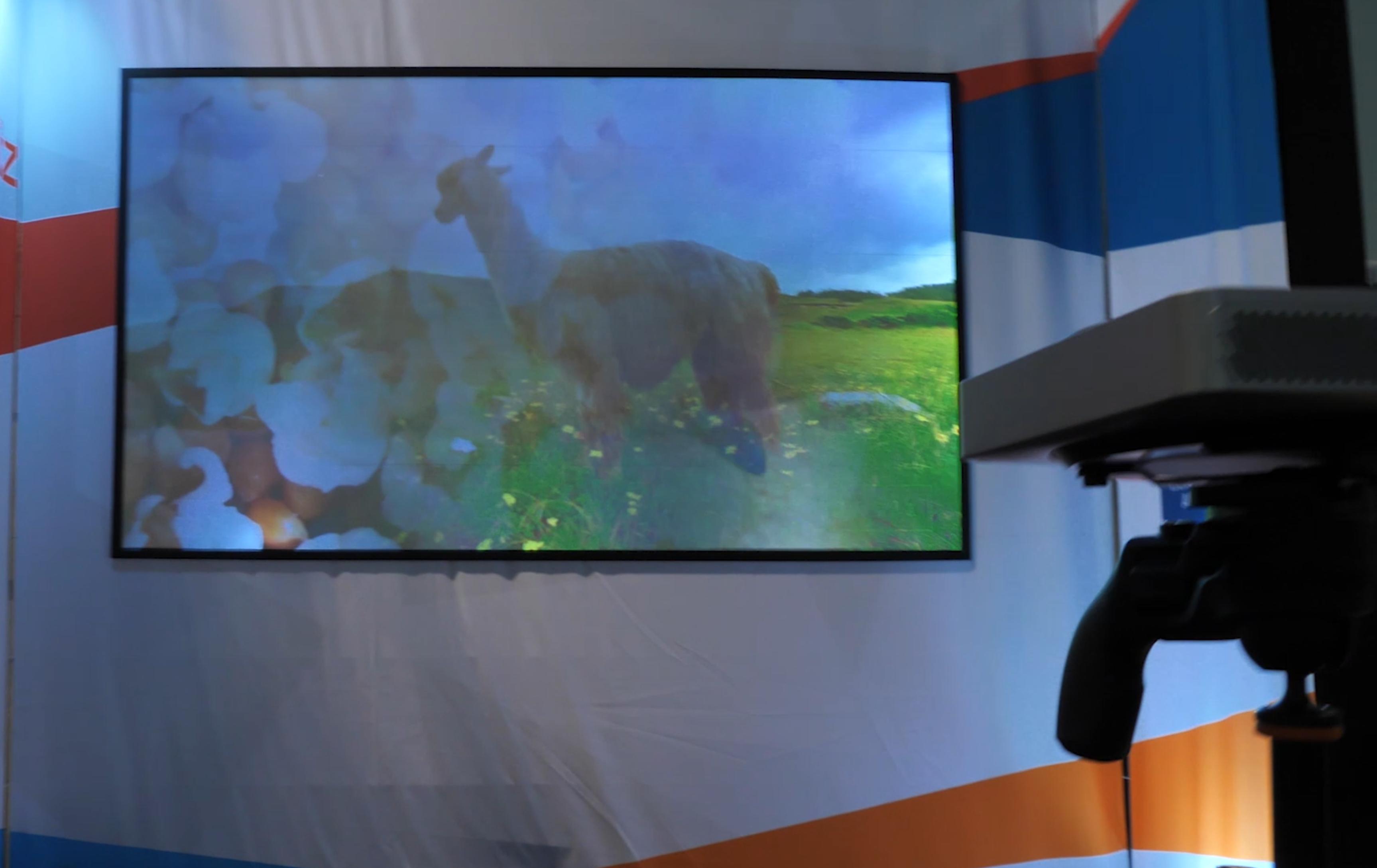 Mirraviz Multiview: Splitscreen-Games spielen ohne die Möglichkeit, zu schummeln - Mirraviz Multiview-Leinwand (Bild: Martin Wolf/Golem.de)