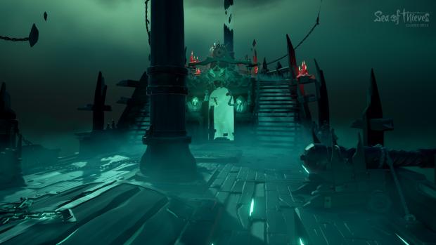 Wenn wir sterben, erwachen wir auf diesem Geisterschiff - die Tür führt zurück in die normale Spielewelt. (Bild: Microsoft/Screenshot: Golem.de)