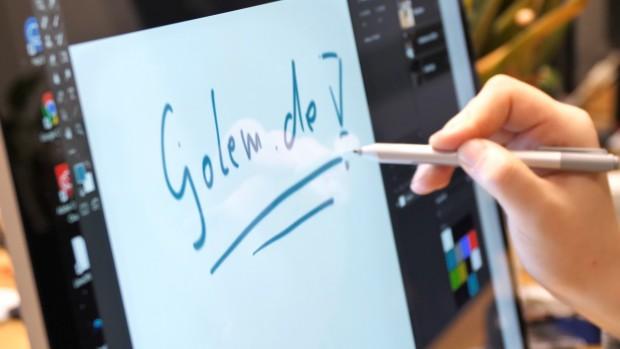 Die Stifbedienung ist intuitiv. (Bild: Martin Wolf /Golem.de)