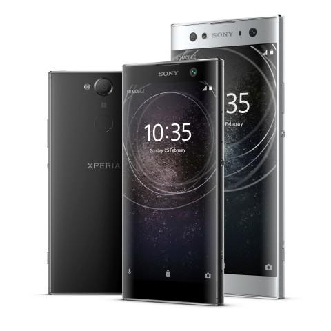 Das Xperia XA2 Ultra im Hintergrund, vorne das Xperia XA2 (Bild: Sony)