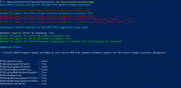 Ausgabe des Microsoft Powershell-Tools unter Windows 10 mit einem Broadwell-Chip von Intel. (Screenshot: Golem.de)
