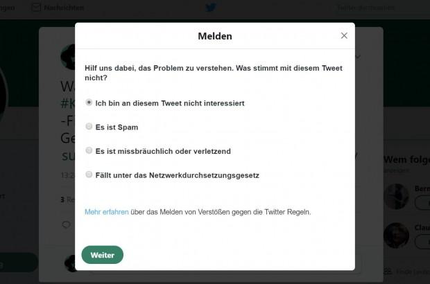 Die sozialen Netzwerke wie Twitter müssen nun Beschwerdemöglichkeiten nach dem Netzwerkdurchsetzungsgesetz anbieten. (Screenshot: Golem.de)