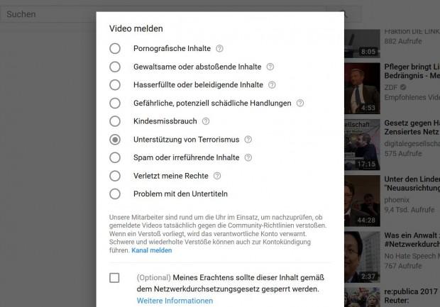 Youtube bietet nun eine Option an, rechtswidrige Videos nach dem NetzDG zu melden. (Screenshot: Golem.de)