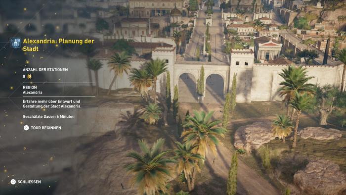 Die erste Tour findet vor Alexandria statt, dann können wir frei wählen. (Bild: Ubisoft / Screenshot: Golem.de)