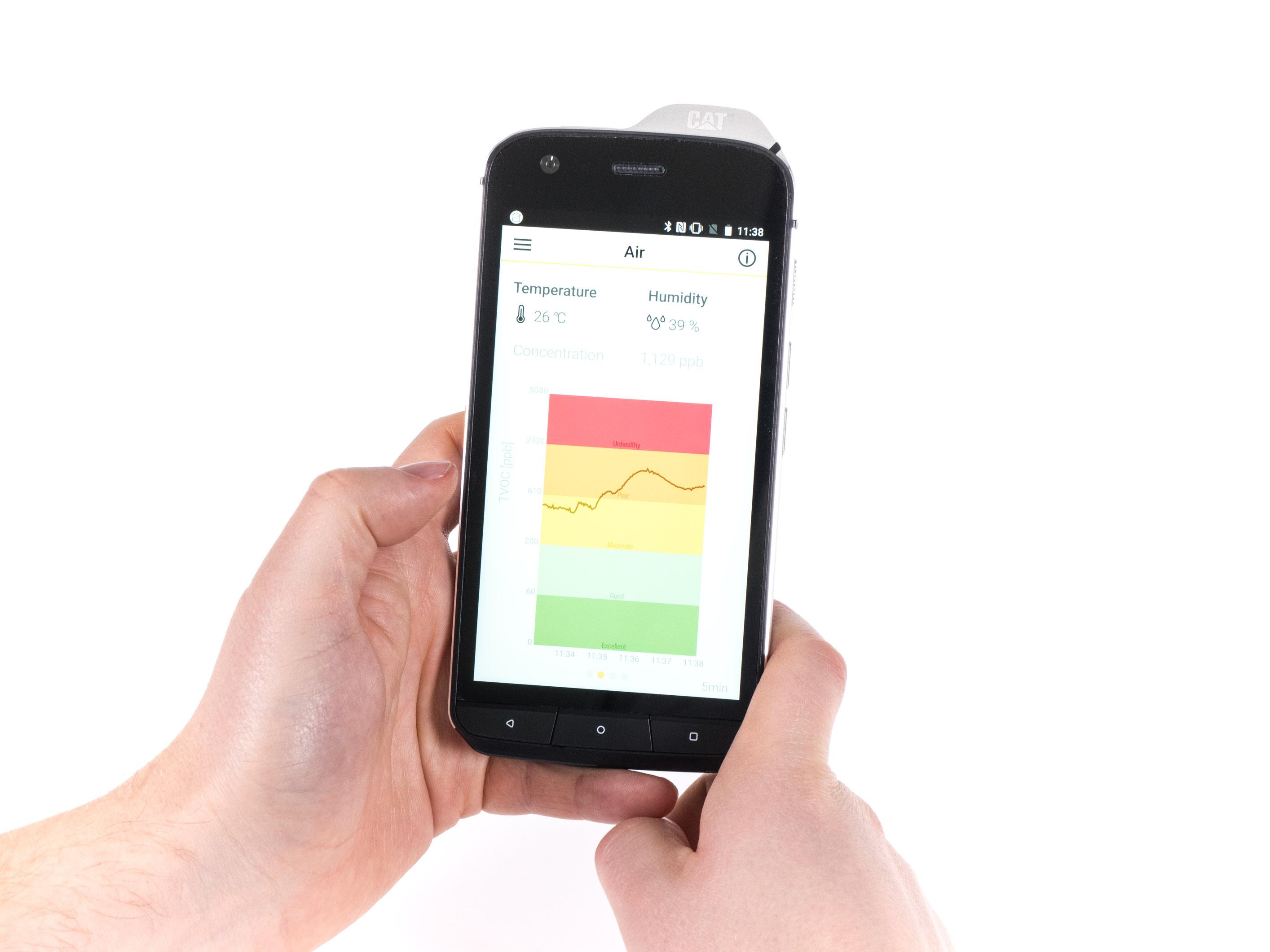 Cat S61 im Hands on: Smartphone kann Luftreinheit und Entfernungen messen - Die App zeigt die Luftverschmutzung der Umgebung. (Bild: Martin Wolf/Golem.de)