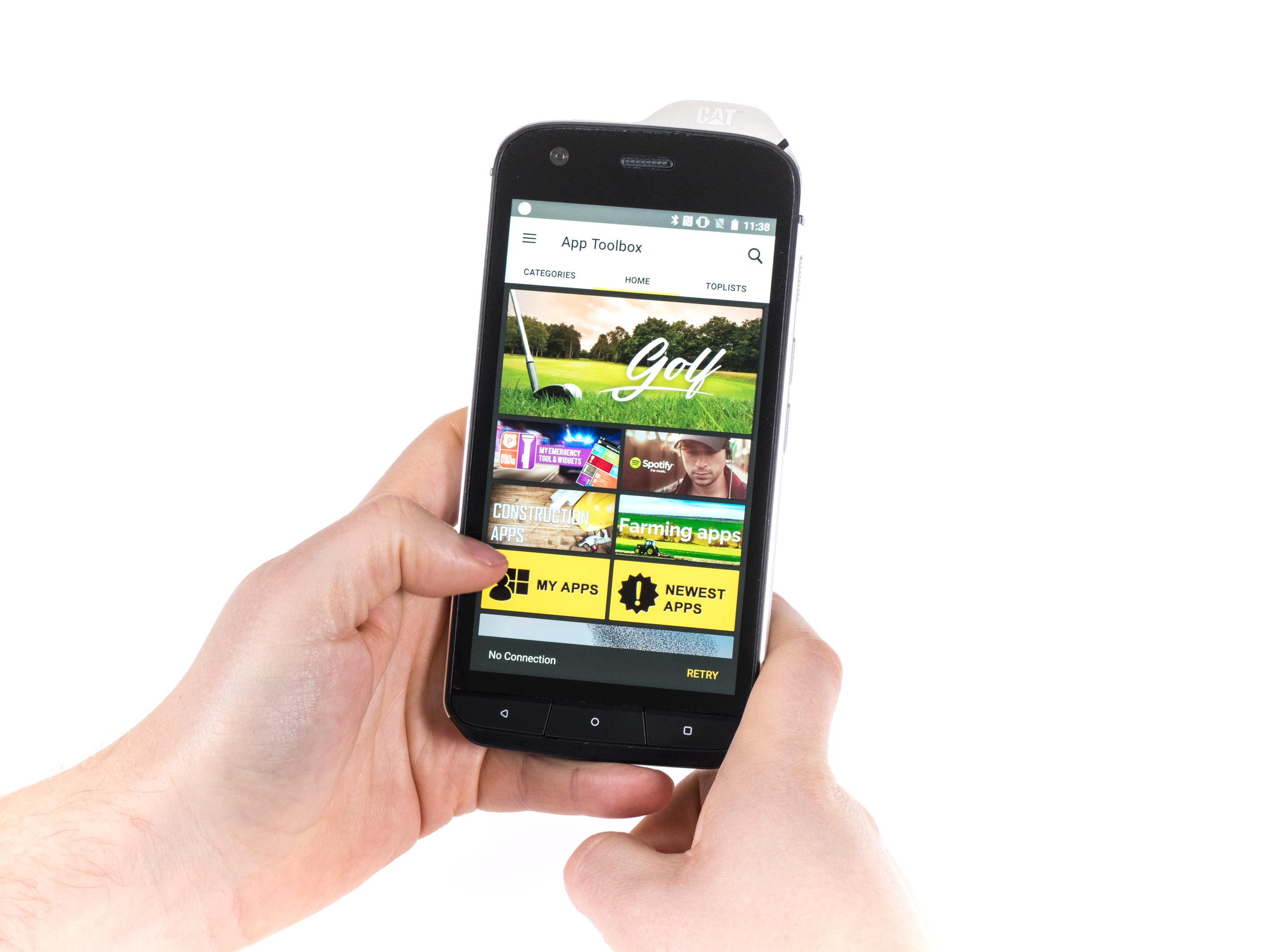 Cat S61 im Hands on: Smartphone kann Luftreinheit und Entfernungen messen - S61 mit eigenen App-Empfehlungen (Bild: Martin Wolf/Golem.de)