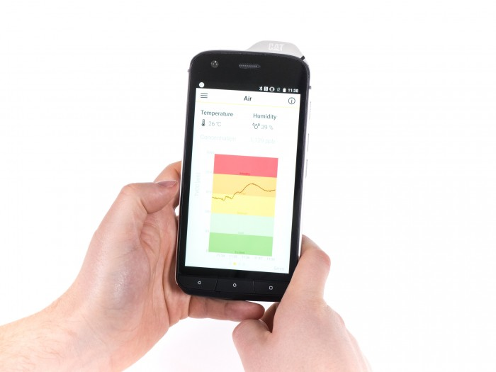 Laser Entfernungsmesser Smartphone : Cat s im hands on smartphone kann luftreinheit und entfernungen