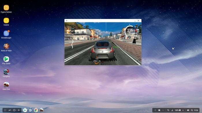 Ein nicht für DeX optimiertes Autorennspiel wird auf Samsungs Desktop-Oberfläche nur in einem kleinen Fenster abgezeigt. (Screenshot: Golem.de)