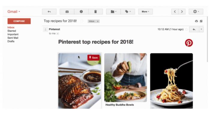 AMP für Gmail am Beispiel einer E-Mail von Pinterest (Screenshot: Golem.de)