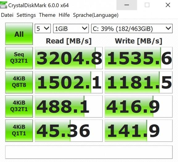 Die Festplatte ist recht schnell.(Screenshot: Oliver Nickel/Golem.de)