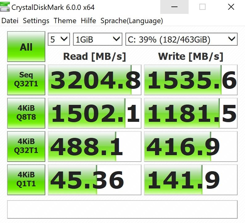 HP Omen X VR im Test: VR auf dem Rücken kann nur teils entzücken - Die Festplatte ist recht schnell.(Screenshot: Oliver Nickel/Golem.de)
