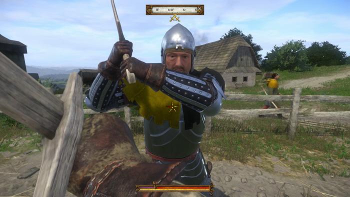 Mit einem Trainer üben wir den Schwertkampf. (Bild: Warhorse/Screenshot: Golem.de)