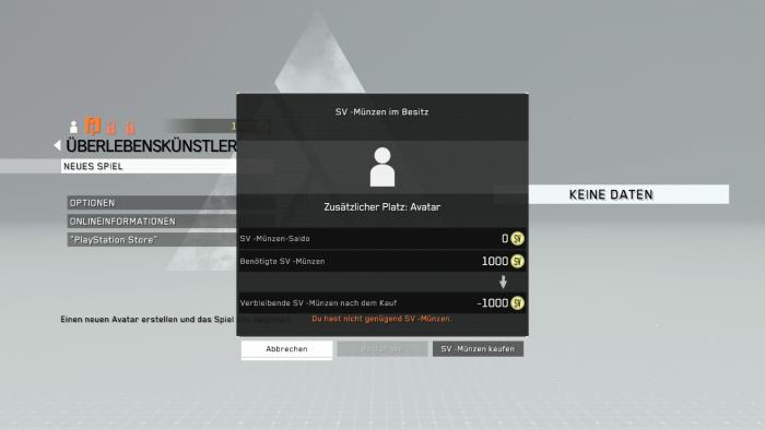 Um einen weiteren Charakterplatz anlegen zu können... (Bild: Konami / Screenshot: Golem.de)