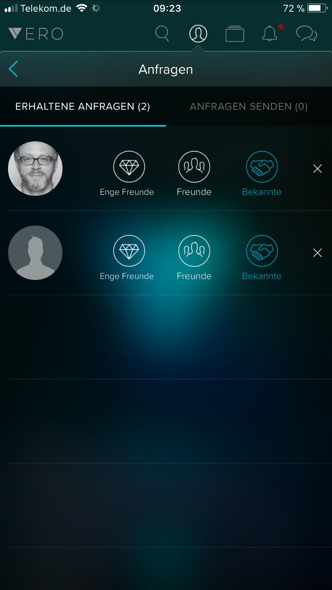 Soziales Netzwerk: Vero entfacht Hype mit kostenloser Mitgliedschaft - Neue Kontakte lassen sich in drei Kategorien einordnen. (Bild: Vero/Screenshot: Golem.de)