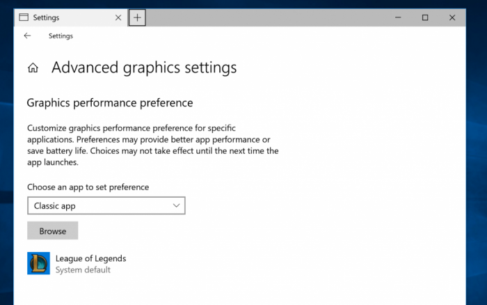GPU-Schalter von Windows 10 (Screenshot: Microsoft)