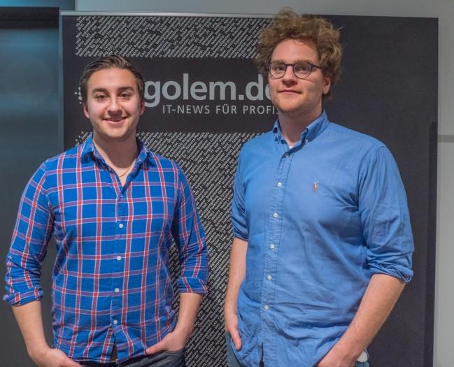 Robin Johansson (COO, l.) und Victor Waldenström (CEO, r.) von Zifra im Golem.de-Büro (Bild: Hauke Gierow/Golem.de)