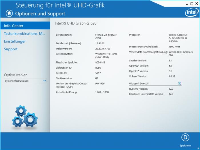 Der vorinstallierte Intel-Treiber ist nicht aktuell. (Screenshot: Golem.de)