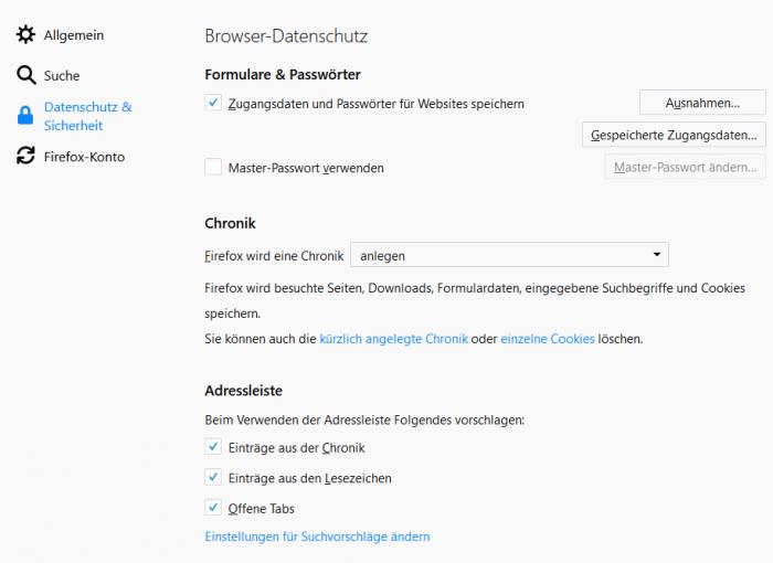 Screenshot der Datenschutzeinstellungen in Firefox 58 (Quelle: Golem.de)