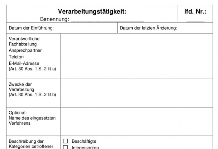Ausschnitt des Musterverzeichnisses für Datenverarbeitungstätigkeiten (Quelle: Landesdatenschutzbeauftragte Niedersachsen)