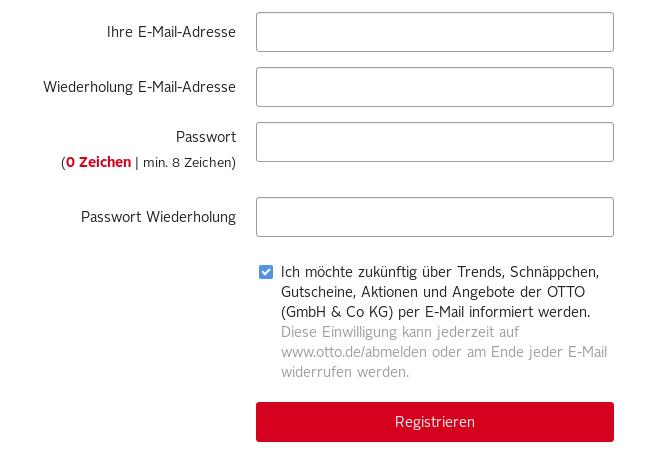 Beispiel eines Anmeldeformulars mit Werbe-Opt-in (Quelle: otto.de)