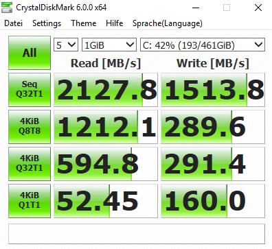 Die SSD ist ziemlich flott. (Screenshot: Oliver Nickel/Golem.de)
