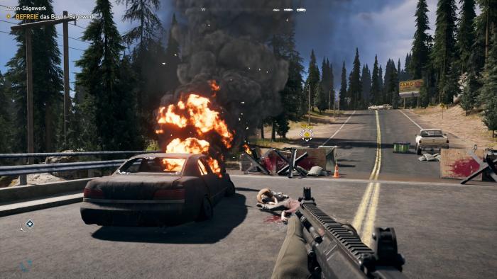 Nichts mit Idylle: Im Montana von Far Cry 5 herrschen Terror und Angst. (Bild: Ubisoft/Screenshot: Golem.de)