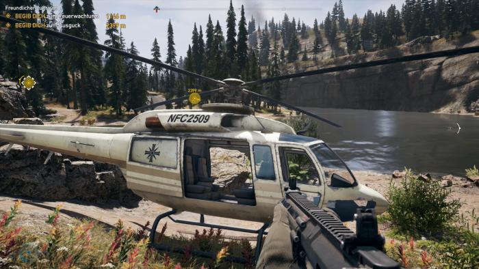 Neben Autos und Quads dürfen wir auch Helikopter und sogar ein Flugzeug steuern. (Bild: Ubisoft/Screenshot: Golem.de)