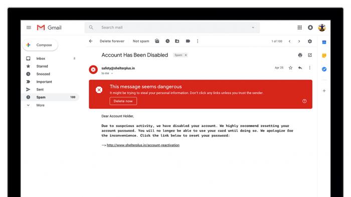 Im neuen Gmail werden unter anderem verdächtige E-Mails eindeutiger gekennzeichnet. (Bild: Google LLC)