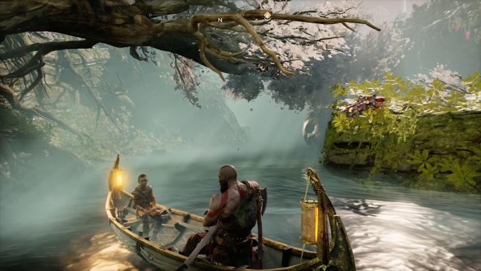 In einer Art Zwischenwelt sind Kratos und Atreus per Kanu unterwegs. (Bild: Sony/Screenshot: Golem.de)