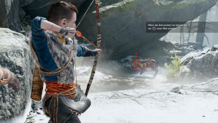 Atreus greift in Kämpfen vor allem zu Pfeil und Bogen. (Bild: Sony/Screenshot: Golem.de)