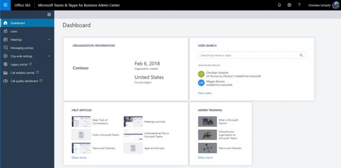 Admin Center für Teams und Skype for Business (Bild: Microsoft)