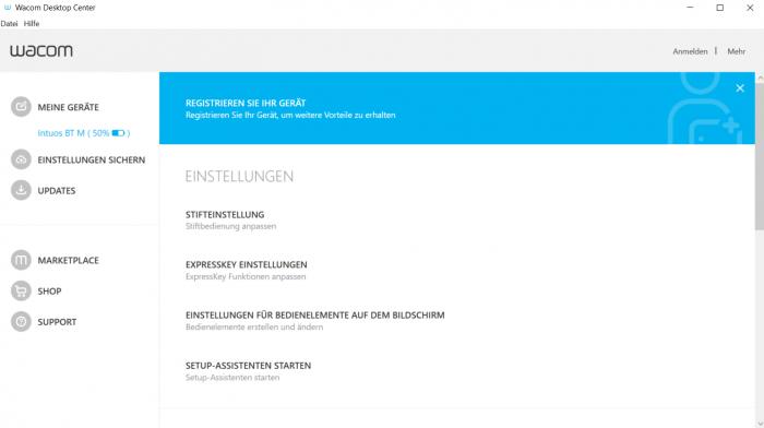 Das Wacom Desktop Center führt nur zur Einstellungssoftware... (Screenshot Oliver Nickel/Golem.de)