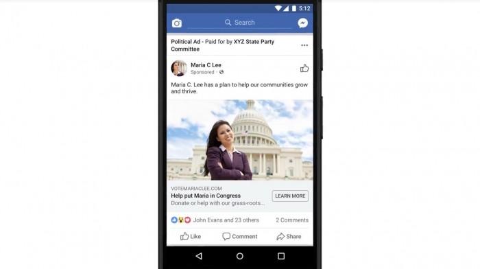 Politische Anzeigen sollen künftig bei Facebook klar erkennbar sein, der Auftraggeber wird genannt. (Quelle: Facebook.com/Screenshot: Golem.de)