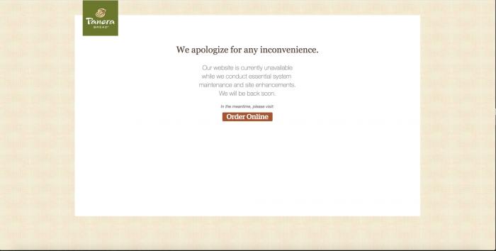 Nach dem Bericht von Brian Krebs ging die Webseite von Panera Bread offenbar schnell offline (Quelle: KrebsOnSecurity)