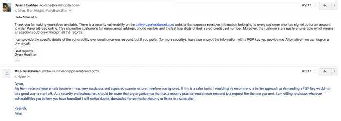 Erster E-Mail-Austausch zwischen Dylan Houlihan und Panera Bread (Quelle: Dylan Houlihan).