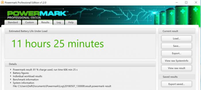 Powermark berechnet eine sehr gute Laufzeit. (Screenshot: Oliver Nickel/Golem.de)