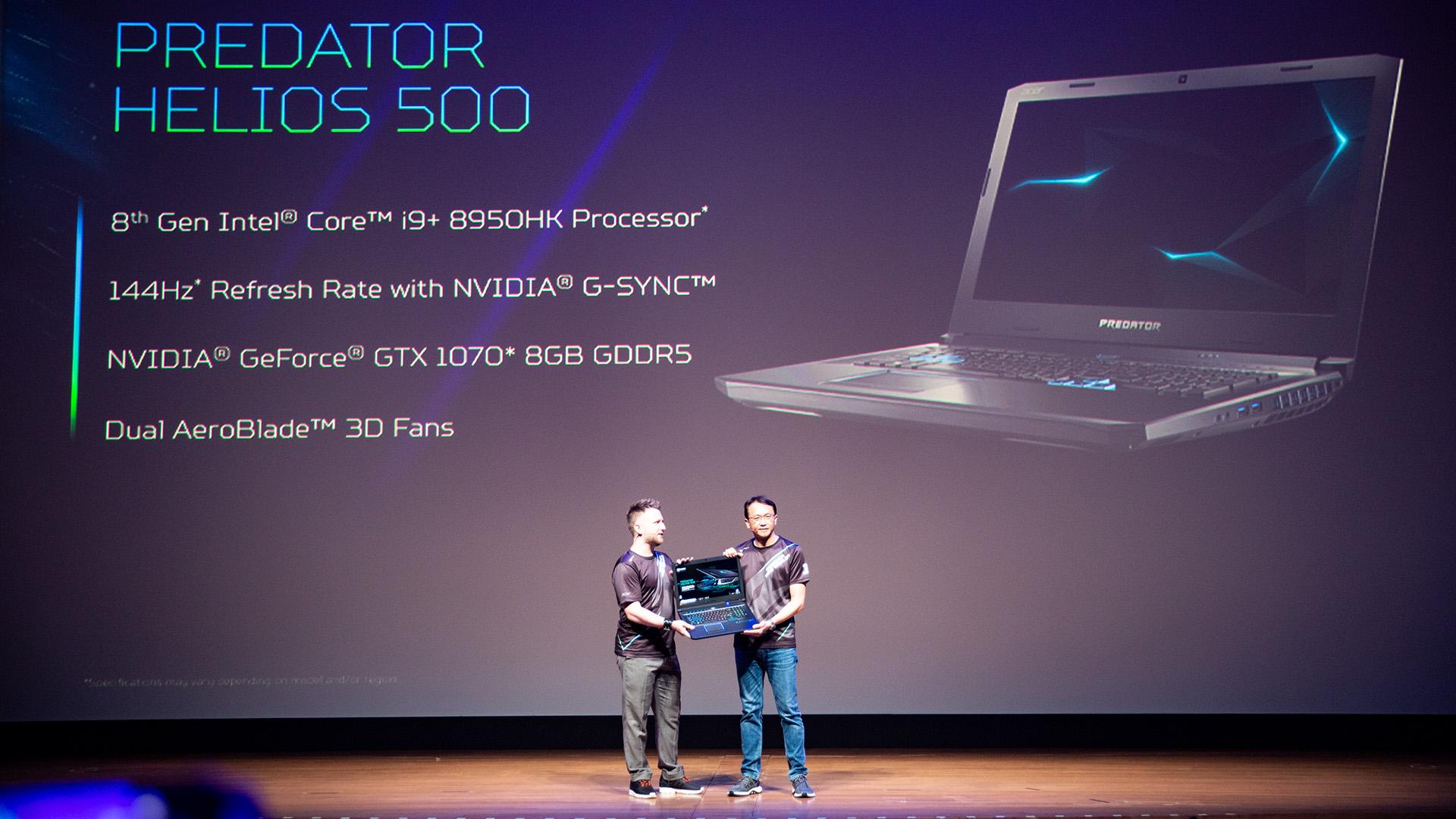 Acer-Portfolio 2018: Nitro-Gaming-PCs mit Ryzen und viele neue Notebooks - Das Helios 500 ist mit einem 144-Hz-Panel ausgestattet. (Bild: Robert Kern/Golem.de)
