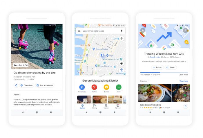 Das neue Erkunden-Menü von Google Maps (Bild: Google)