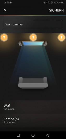 In der Hue-App für das Smartphone können wir virtuell die Position der Lampen einstellen. (Bild: Tobias Költzsch/Golem.de)