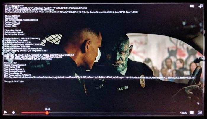 Auf dem X1 Carbon wird The Bright mit HEVC und BT2020 gestreamt. (Screenshot: Golem.de)