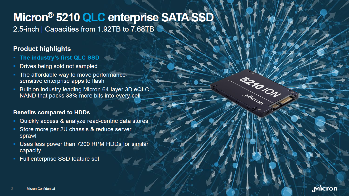 SSD: Microns QLC-Flash-Speicher nutzt 64 Zellschichten - Micron 5120 Ion Enterprise Sata SSD (Bild: Micron)