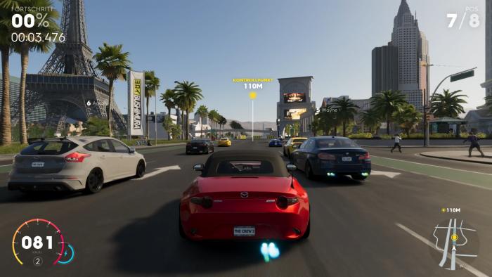 In Las Vegas sausen wir in einem Wettrennen über die ziemlich breiten Straßen. (Bild: Ubisoft/Screenshot: Golem.de)