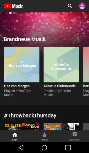 Startbildschirm von Youtube Music Premium (Screenshot: Golem.de)