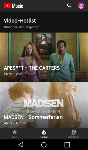 Hotlist-Bereich von Youtube Music (Screenshot: Golem.de)